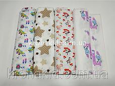 Набор ситцевых пеленок (3 шт) для девочки / для мальчика / универсальные - 90 х 110 см, фото 3