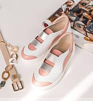 Летние кожаные женские кеды,белые с розовым 36-40р