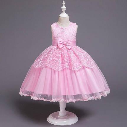 Ошатне дитяче плаття на дівчинку 1-6 років рожеве, фото 2