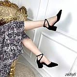 Женские туфли  на широком каблуке с ремешком переплет с острым носком, серые, черные, фото 2