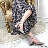 Женские туфли  на широком каблуке с ремешком переплет с острым носком, серые, черные, фото 3