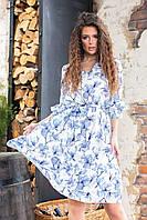 Платье арт. 200 с рюшами цвет 6 сине-белая магнолия