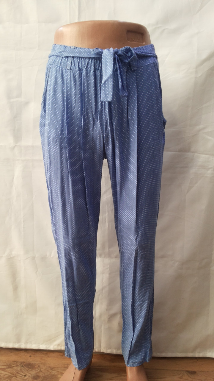 Султанки женские нежно голубые в горошек софт