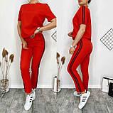 Летний женский спортивный костюм, футболка с брюками, стильно и удобно, 4 цвета, р.42-44; 44-46 код 120Р, фото 4
