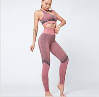 Спортивный костюм для фитнеса розовый (лосины+топ) S, M, L, фото 1