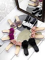Женские шлепки кожаные Джуси с бантом,белые,пудра,черные, фуксия, капучино, ,на платформе 6,5 см