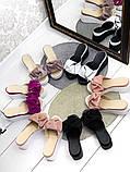 Женские шлепки кожаные Джуси с бантом,белые,пудра,черные, фуксия, капучино,  ,на платформе 6,5 см, фото 2