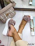 Женские шлепки кожаные Джуси с бантом,белые,пудра,черные, фуксия, капучино,  ,на платформе 6,5 см, фото 3