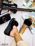 Женские шлепки кожаные Джуси с бантом,белые,пудра,черные, фуксия, капучино,  ,на платформе 6,5 см, фото 5