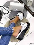 Женские шлепки кожаные Джуси с бантом,белые,пудра,черные, фуксия, капучино,  ,на платформе 6,5 см, фото 6