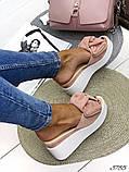 Женские шлепки кожаные Джуси с бантом,белые,пудра,черные, фуксия, капучино,  ,на платформе 6,5 см, фото 7