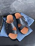 Чоловічі капці шкіряні літні чорні Bumer Premium 300, фото 6