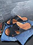 Чоловічі капці шкіряні літні чорні Bumer Premium 300, фото 5