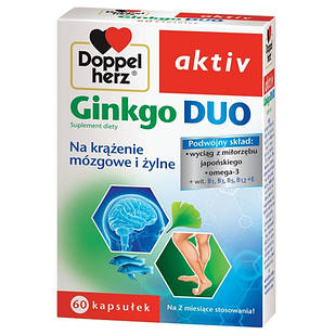 Doppelherz Aktiv, Ginkgo Duo Гинкго Билоба экстракт , Omega-3,  витамины 60 капс