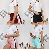 Летний женский спортивный костюм, футболка с шортами, 4 цвета, р.42-44; 44-46,46-48  код 181Р, фото 1