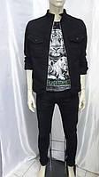 Мужская черная джинсовая куртка размер L