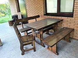 Комплект: стол 1400 х800, лавка 1400 со спинкой, лавка без спинки, стул