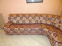 Перетяжка гостевого уголка с цветами. Перетяжка мягкой мебели Днепр., фото 1