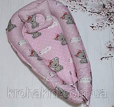 """Дитячий кокон / гніздечко / позиціонер """"Сови"""" для новонароджених з ортопедичною подушкою, фото 2"""