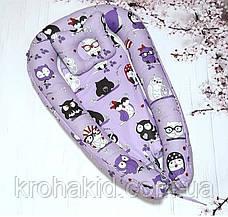 """Дитячий кокон / гніздечко / позиціонер """"Сови"""" для новонароджених з ортопедичною подушкою, фото 3"""