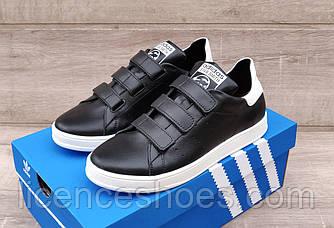 Чоловічі кросівки Adidas Stan Smith Black/White Натуральна шкіра ЛИПУЧКА