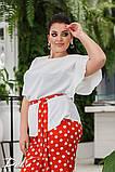 Женский нарядный брючный костюм в горох двойка блуза и штаны ткань лён жатка размер: 50-52, 54-56, фото 2