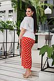 Женский нарядный брючный костюм в горох двойка блуза и штаны ткань лён жатка размер: 50-52, 54-56, фото 3