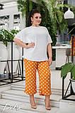 Женский нарядный брючный костюм в горох двойка блуза и штаны ткань лён жатка размер: 50-52, 54-56, фото 4