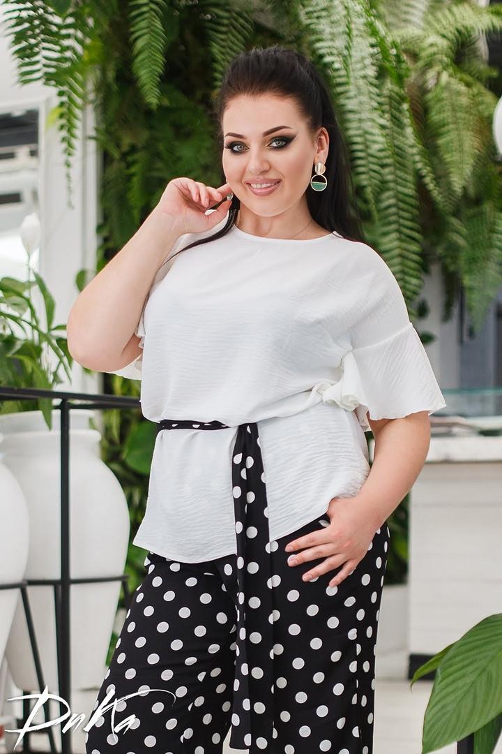 Женский нарядный брючный костюм в горох двойка блуза и штаны ткань лён жатка размер: 50-52, 54-56