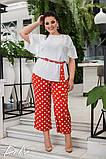 Женский нарядный брючный костюм в горох двойка блуза и штаны ткань лён жатка размер: 50-52, 54-56, фото 7