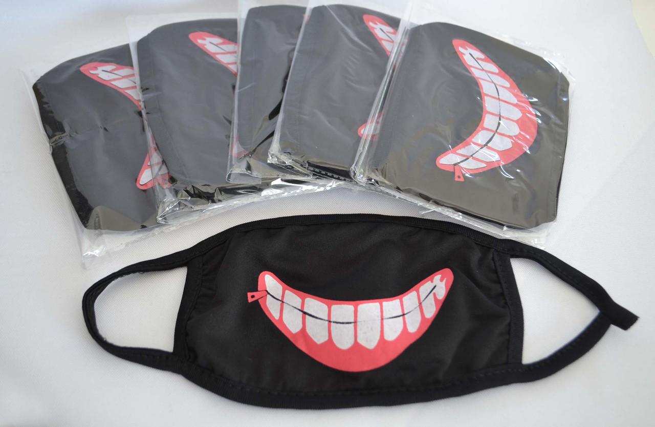 Маска для обличчя багаторазова тканинна чорна Токійський гуль