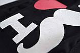 Маска для обличчя багаторазова тканинна чорна Я люблю вуса, фото 3