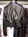 Черная косуха из натуральной кожи с поясом, фото 2