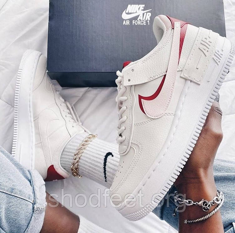 Женские кроссовки Nike Air Force 1 Shadow Pink Gum Red