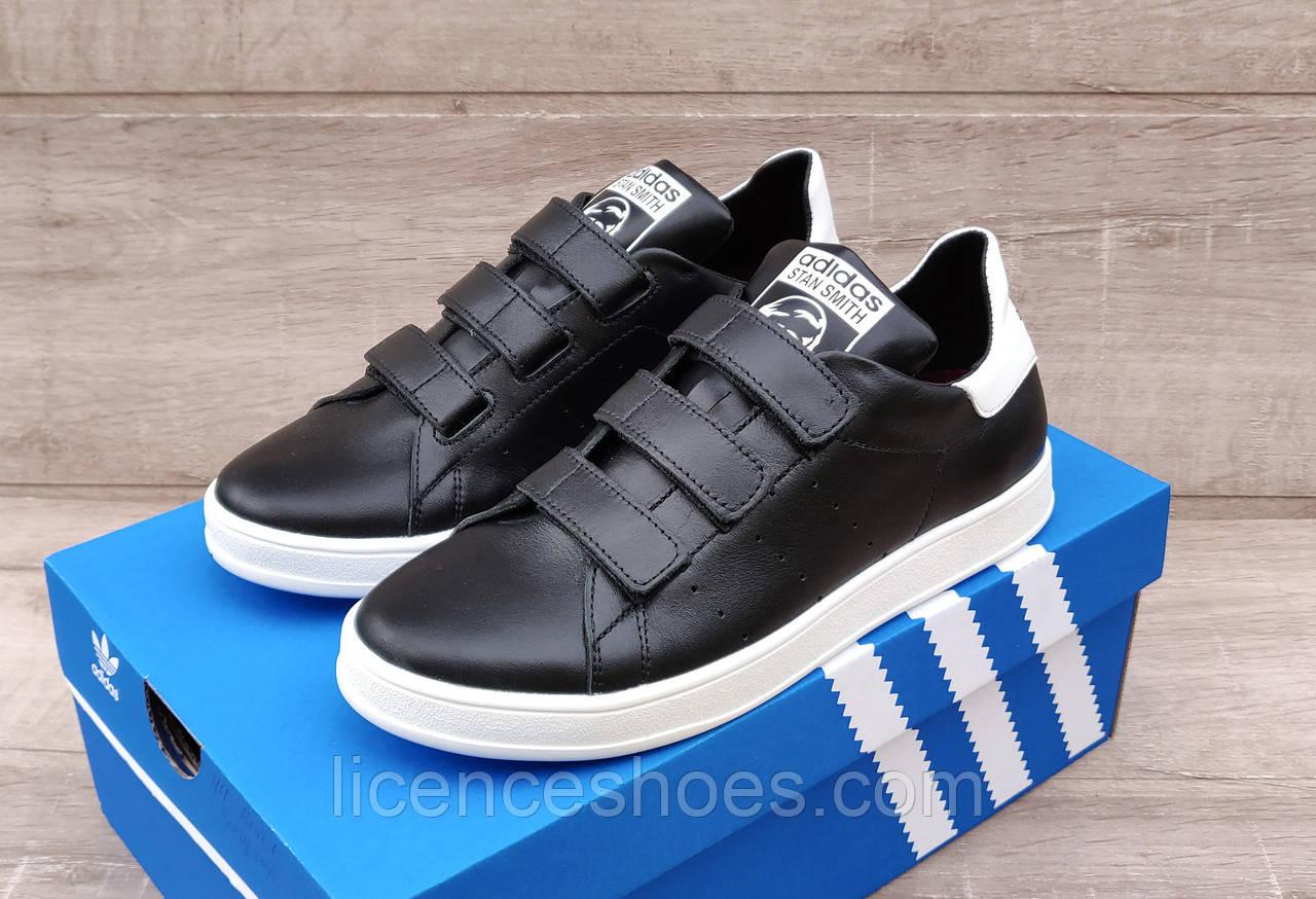 Женские кроссовки Adidas Stan Smith Black White на ЛИПУЧКЕ. Натуральная кожа