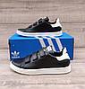 Жіночі кросівки Adidas Stan Smith Black White на ЛИПУЧЦІ. Натуральна шкіра, фото 9