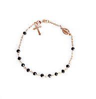 """Срібний браслет-вервиця з позолотою """"Ave Maria"""" (розмір 20)"""