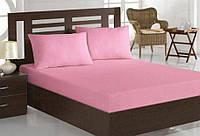 Простирадло на гумці рожева з ранфорсу всіх розмірів, з наволочками і без, бавовна 100%