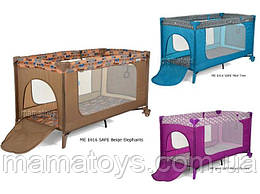 Манеж кроватка детский ME 1016 SAFEбежевый, фиолетовый, ментол, 2 колеса, вход змейка, карман, кольца 2 шт,