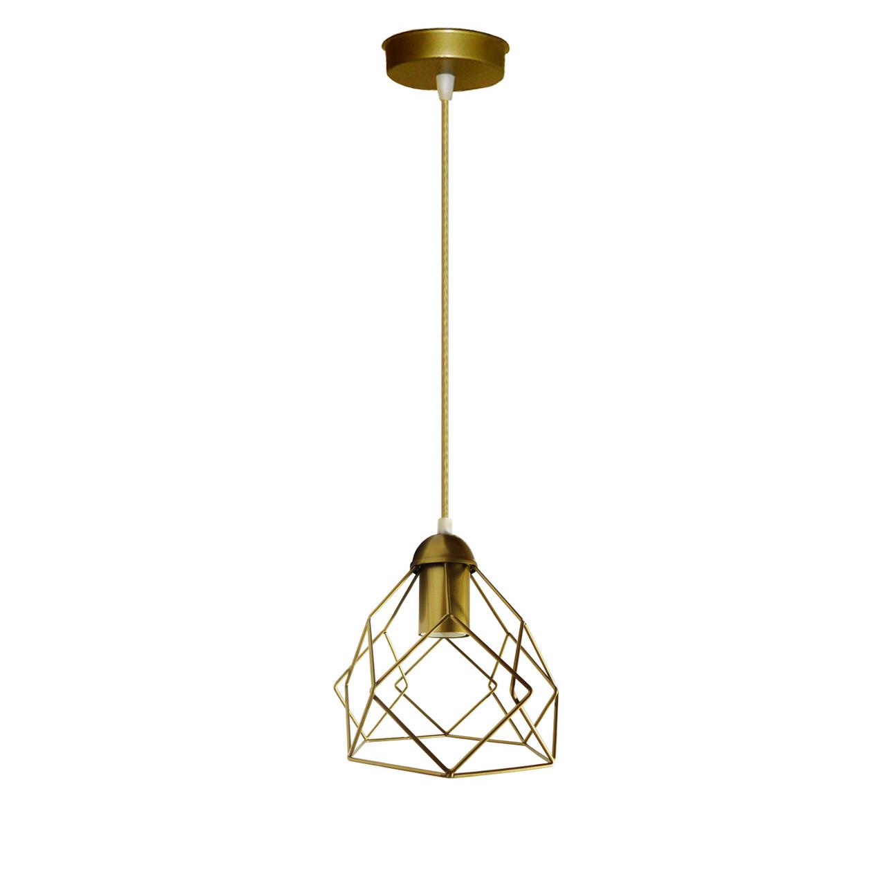 """Подвесной металлический светильник, современный стиль """"RUBY-G"""" Е27  золотой цвет"""