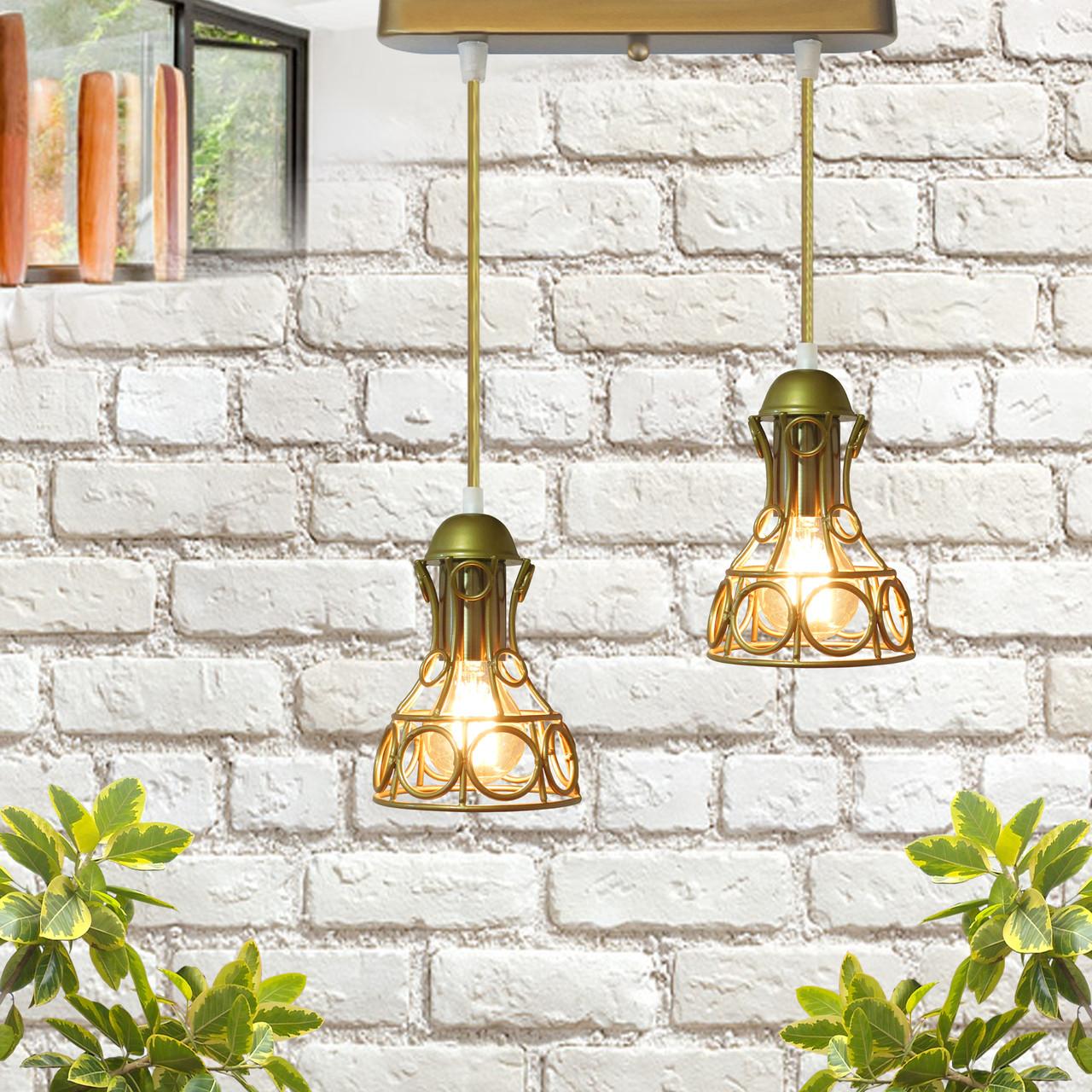 Подвесной  светильник, индустриальный стиль стиль, loft, vintage RINGS-2 Е27  золото