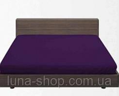 Простынь на резинке фиолетовая из ранфорса всех размеров, с наволочками и без, хлопок 100%