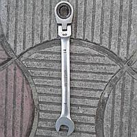 Ключ рожково-накидний з тріскачкою на шарнірі 14 мм, фото 1