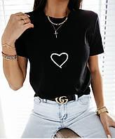 Футболка женская сердце, качественная, стильная, модная, белая, черная.