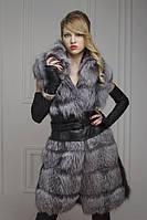 Меховой жилет жилетка из чернобурки, длина 90 см   silver fox fur vest, length=90 cm, фото 1