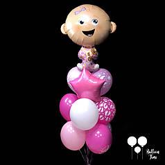 Фонтан шаров для выписки из роддома с фольгированной девочкой