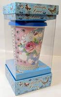 Керамическая кружка с силиконовой крышкой в подарочной упаковке Rose