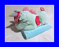 Игрушка Детский Плед ЕДИНОРОГ Мятный (голубой)