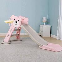 Детская горка Мишка с баскетбольным кольцом HF-H008-8 цвет:розовый