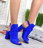 Элегантные женские замшевые босоножки на высоком устойчивом каблуке (разные цвета), фото 6